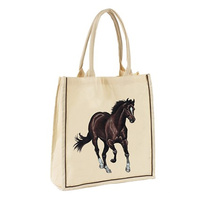 Cotton Tote Bag With Horse Print