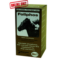 Foliphos 100mL. Injectable Phosphorus, Folic Acid and Vitamin B12 Supplement For Horses & Dogs