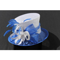 Ladies Sinamay Hat. Royal Blue & White. Great For Horse Races, Judging, Church, Etc