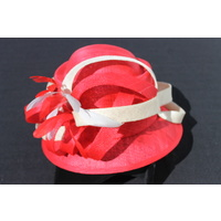 Ladies Sinamay Hat. Red & Cream. Perfect For Races, Judging, Church Etc