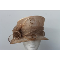 Ladies Sinamay Hat. Golden Light Brown. Perfect For Races, Judging, Church Etc