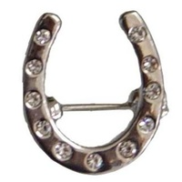 Horse Shoe Stock Pin With Crystals. Gold Or Silver