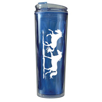 Acrylic Tumbler With Horse Print. 600ml. Blue Or Purple