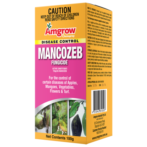 Amgrow Mancozeb. 100g. For the control of certain diseases in apples, mangoes, vegetables, flowers and turf.