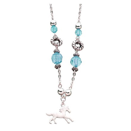 Beaded Horse Charm Necklace. Aqua
