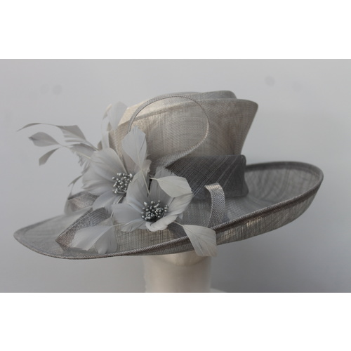 Ladies Sinamay Hat. Silver Grey. Perfect For Races, Judging, Church Etc